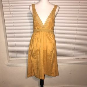 NWT H&M Mustard Embroidered Dress Size 8